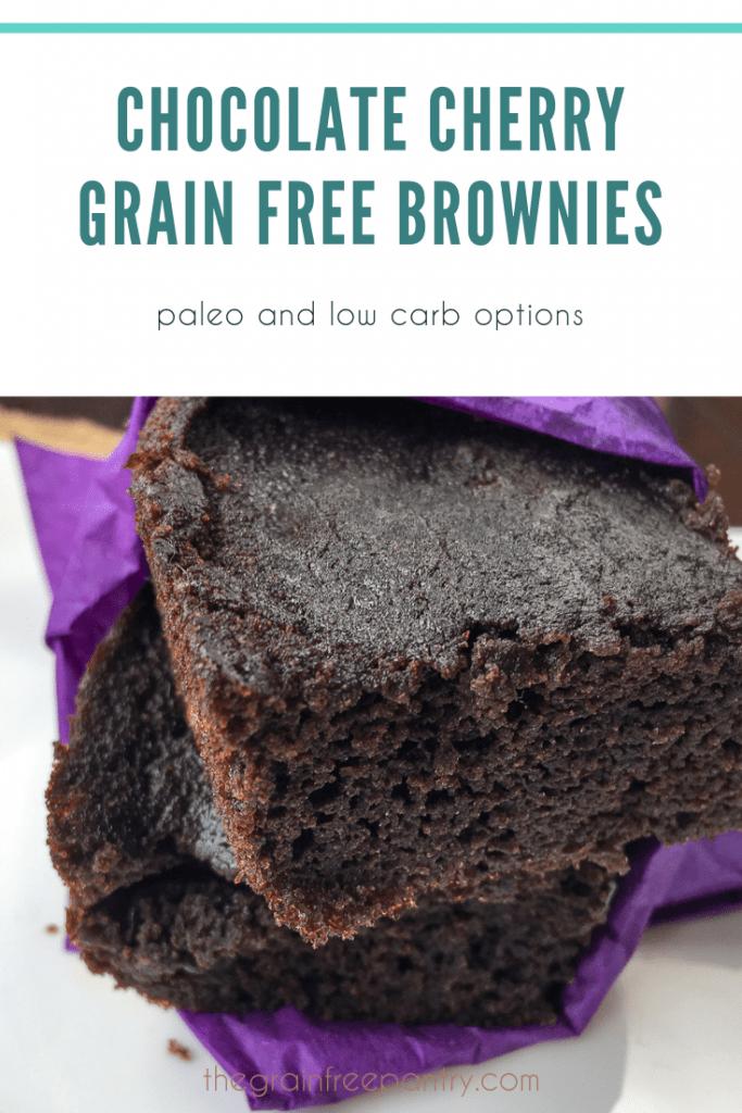 Chocolate Cherry Grain Free Brownie in purple napkin